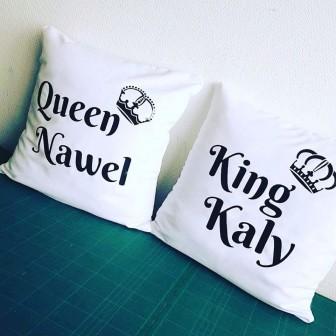 Lot de 2 Coussins King & Queen